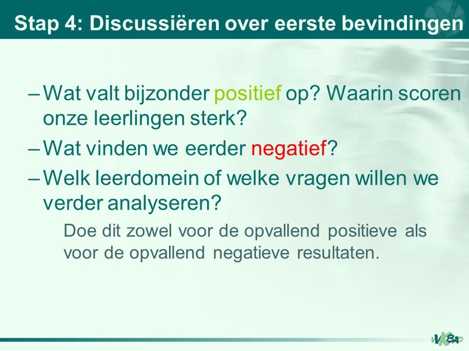 Stap 4: Discussiëren over eerste bevindingen