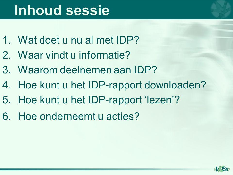 Inhoud sessie Wat doet u nu al met IDP Waar vindt u informatie