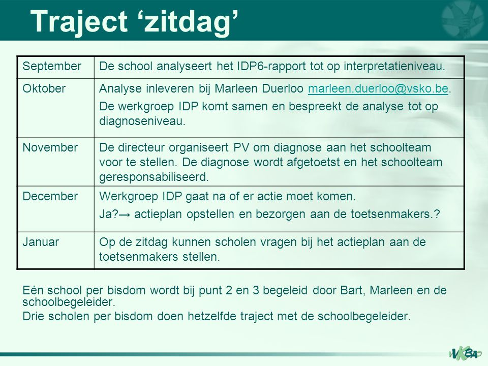 Traject 'zitdag' September