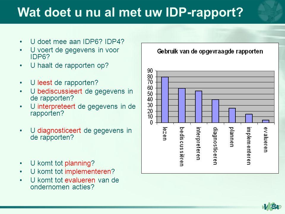 Wat doet u nu al met uw IDP-rapport