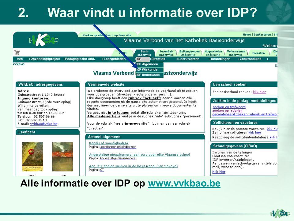 2. Waar vindt u informatie over IDP
