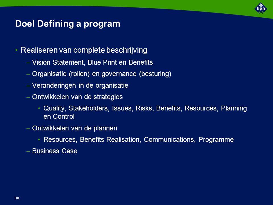 Activiteiten Defining a program