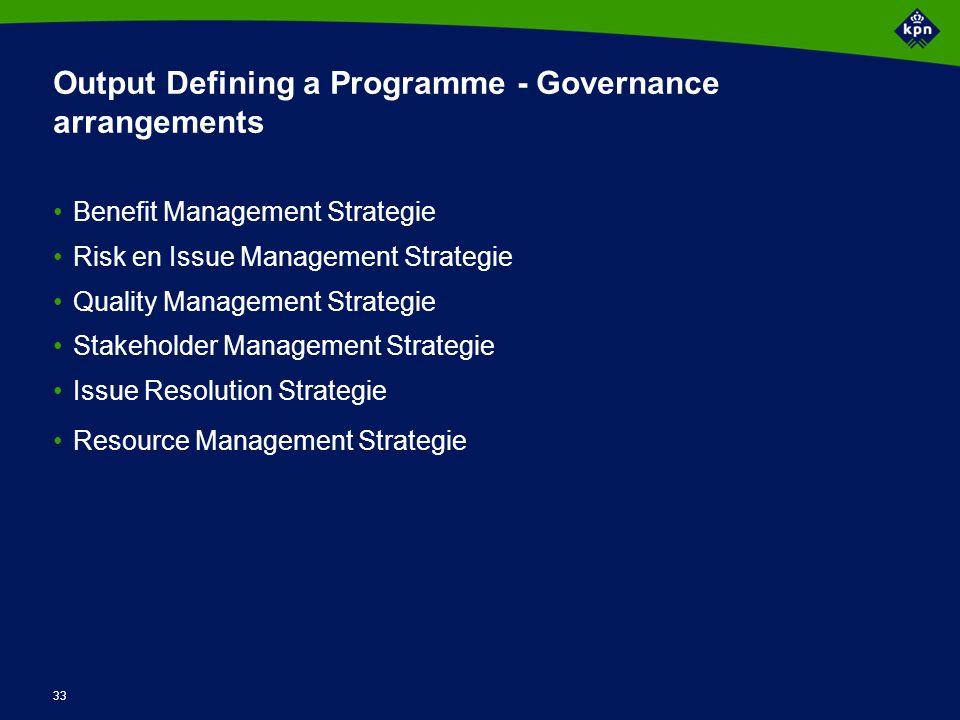 Output Defining a Programme - Plans