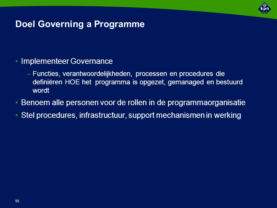 Output Governing a Programme