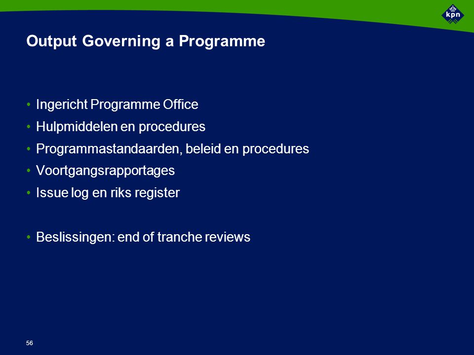Activiteiten Governing a Programme