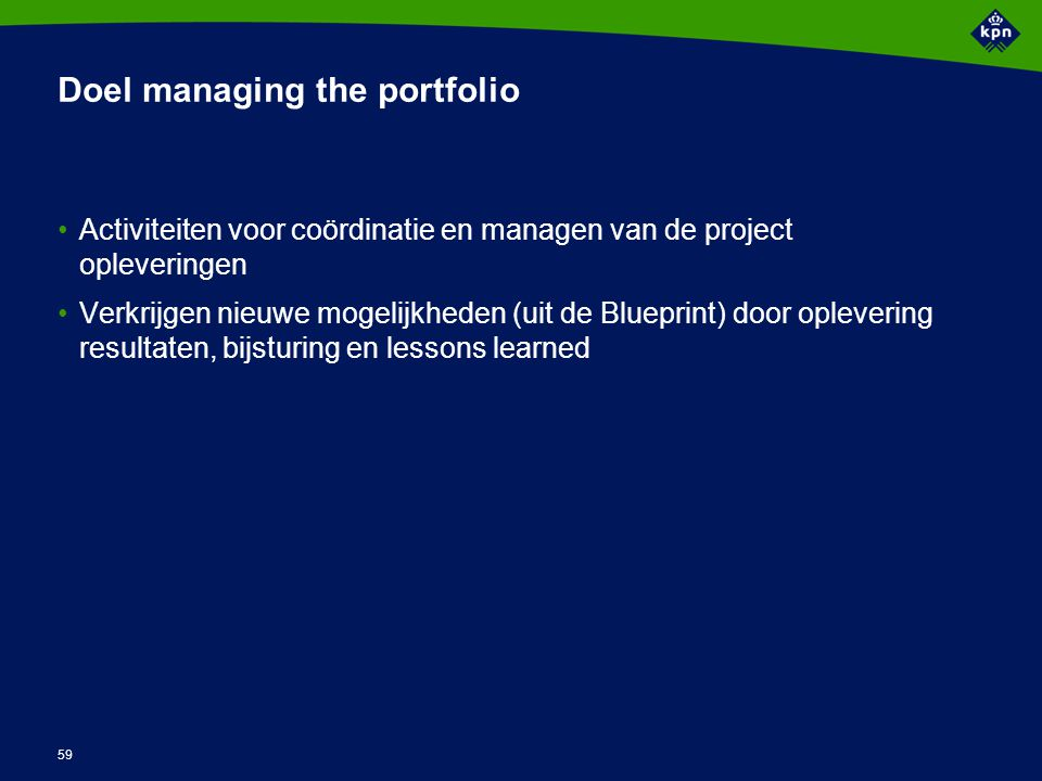Activiteiten managing the portfolio