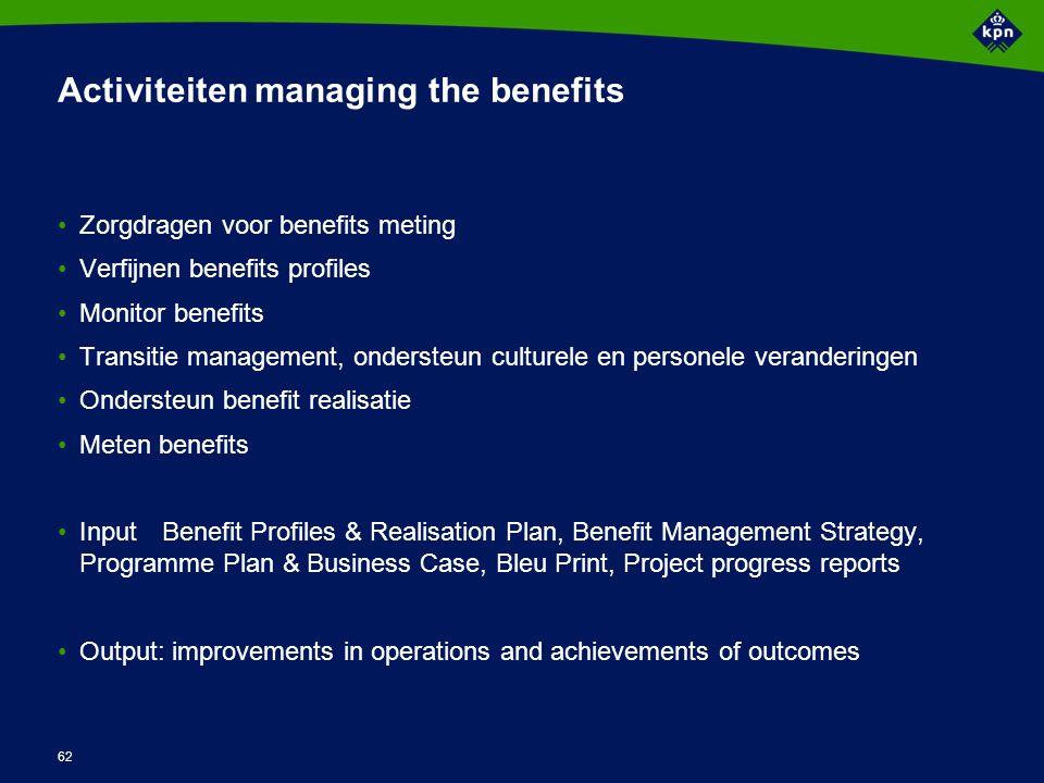 Benefits Management Welke verbetering Waar zal het gebeuren