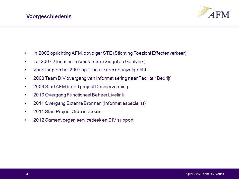 Voorgeschiedenis In 2002 oprichting AFM, opvolger STE (Stichting Toezicht Effectenverkeer) Tot 2007 2 locaties in Amsterdam (Singel en Geelvink)