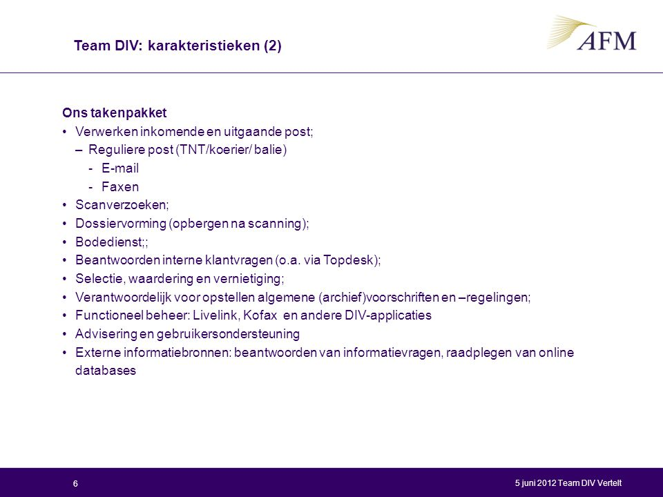 Team DIV: karakteristieken (2)