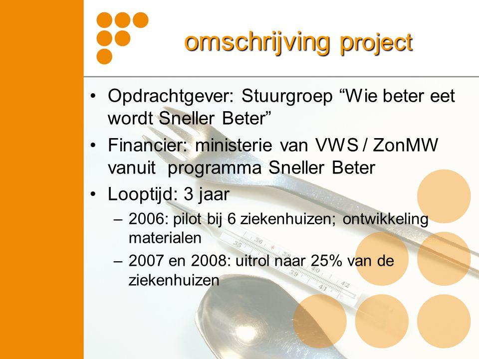 omschrijving project Opdrachtgever: Stuurgroep Wie beter eet wordt Sneller Beter