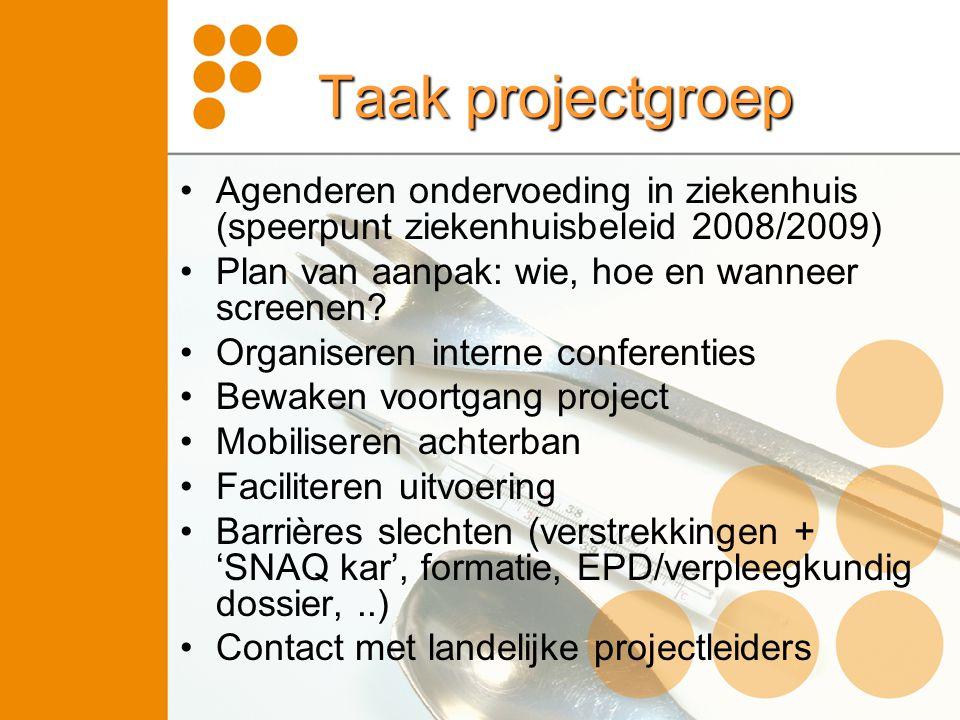 Taak projectgroep Agenderen ondervoeding in ziekenhuis (speerpunt ziekenhuisbeleid 2008/2009) Plan van aanpak: wie, hoe en wanneer screenen