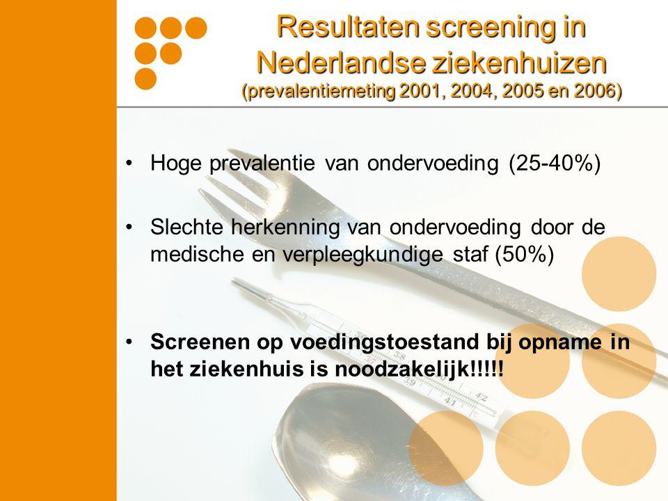 Resultaten screening in Nederlandse ziekenhuizen (prevalentiemeting 2001, 2004, 2005 en 2006)