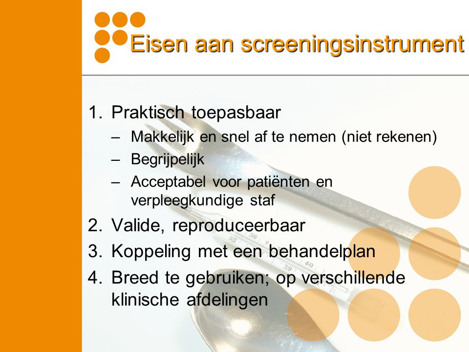 Eisen aan screeningsinstrument