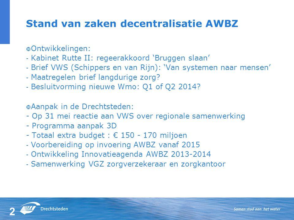 Stand van zaken decentralisatie AWBZ