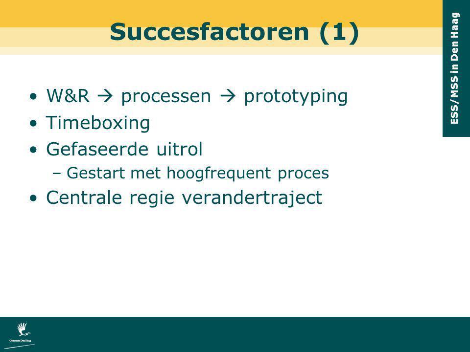 Succesfactoren (1) W&R  processen  prototyping Timeboxing