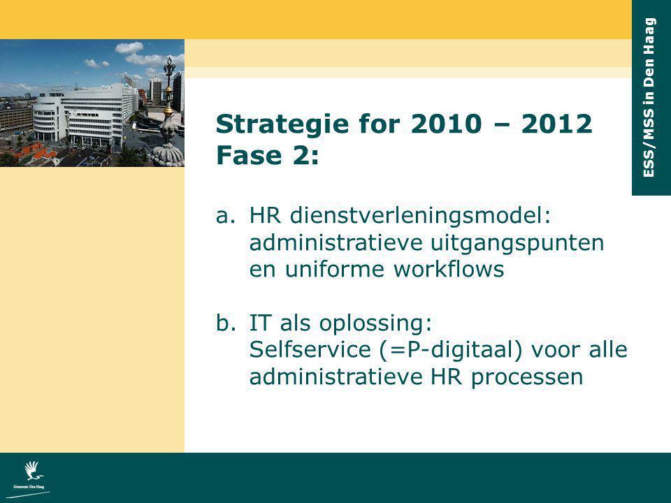 Strategie for 2010 – 2012 Fase 2: HR dienstverleningsmodel: administratieve uitgangspunten en uniforme workflows.