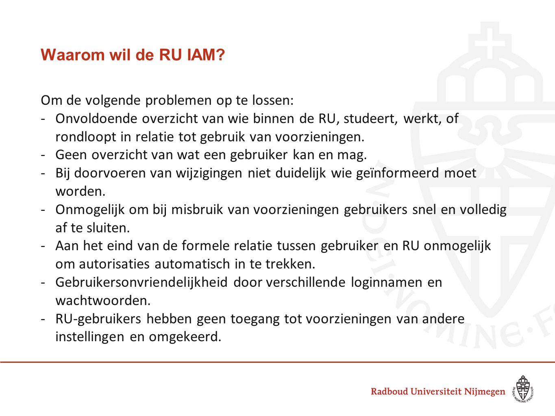 Waarom wil de RU IAM Om de volgende problemen op te lossen: