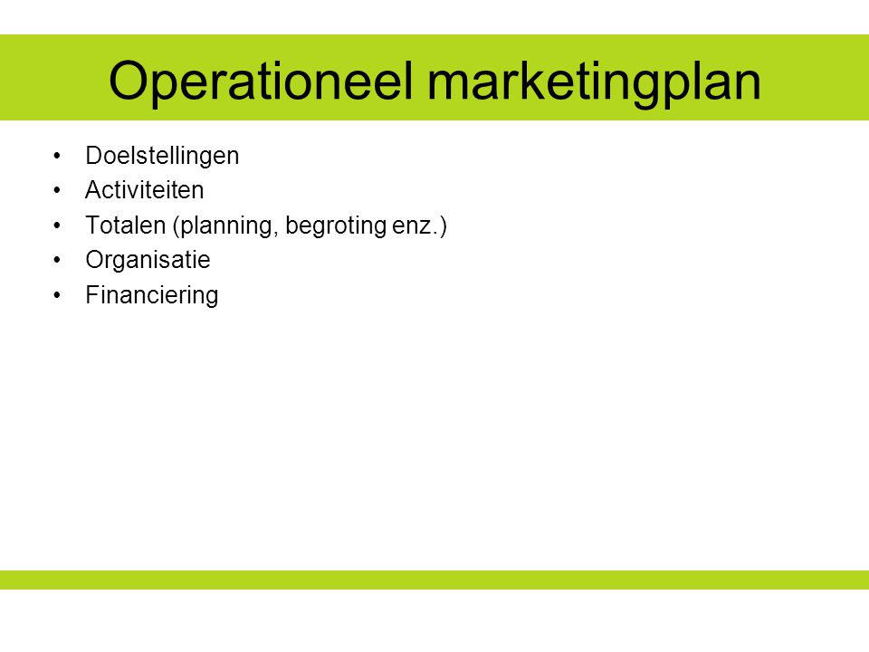 Operationeel marketingplan