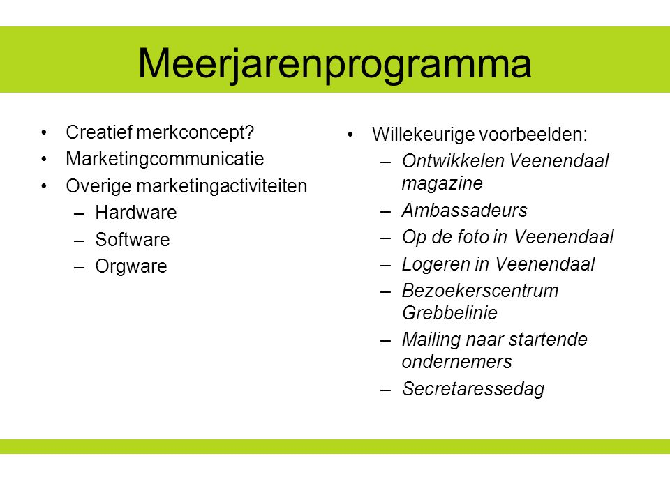 Meerjarenprogramma Creatief merkconcept Marketingcommunicatie