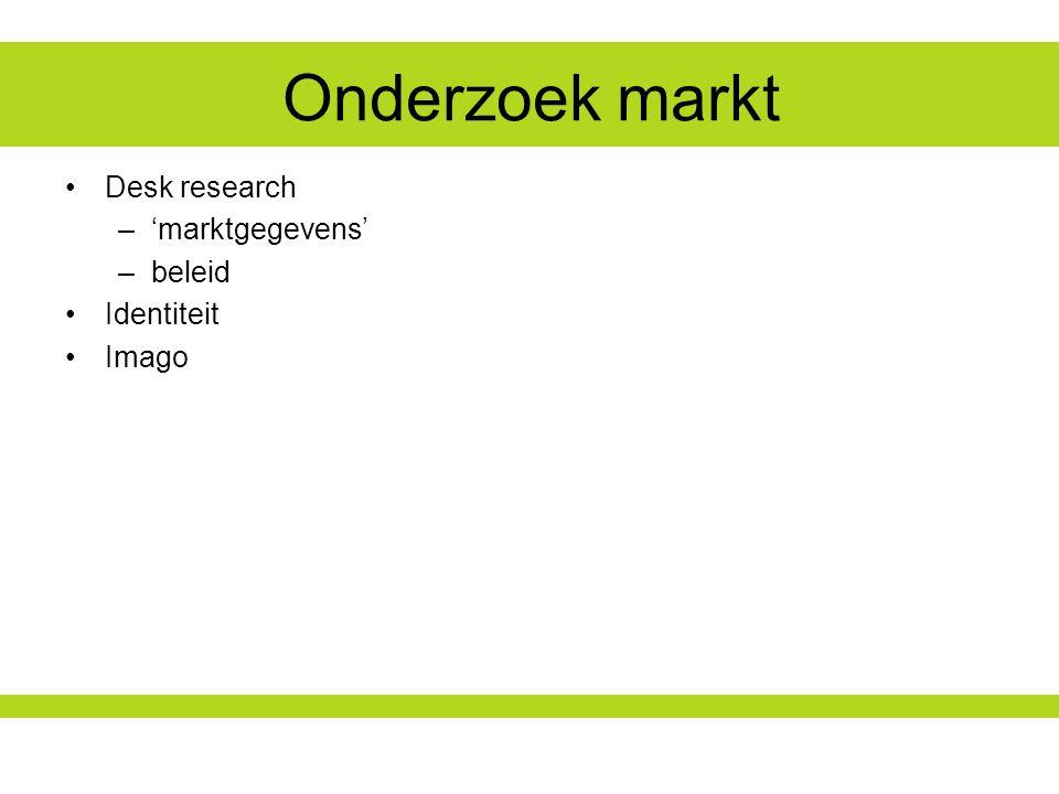 Onderzoek markt Desk research 'marktgegevens' beleid Identiteit Imago