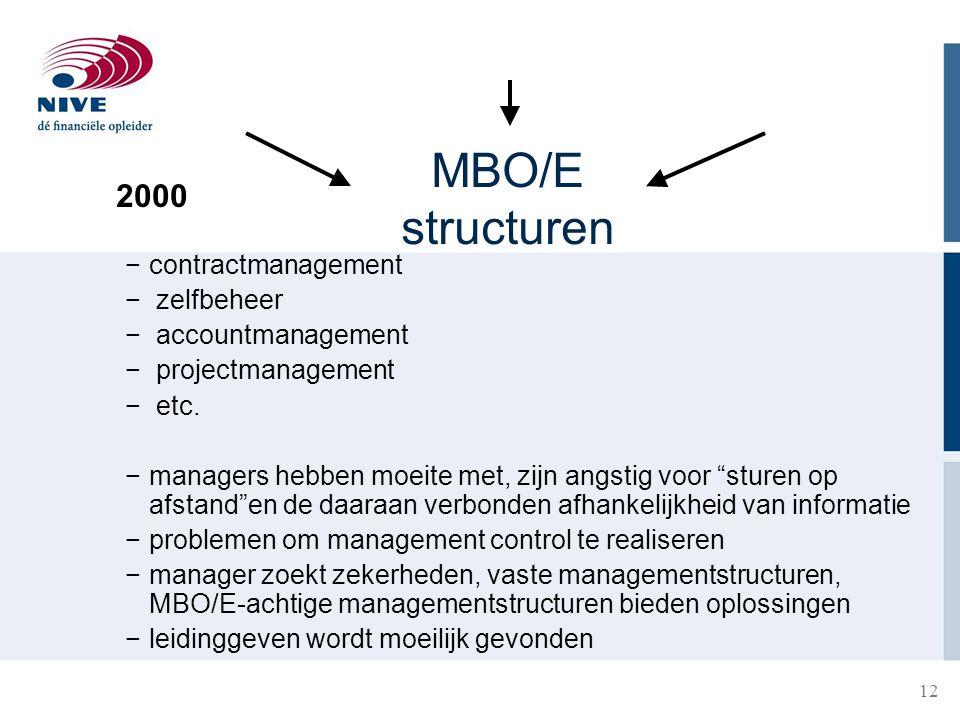 MBO/E structuren 2000 contractmanagement zelfbeheer accountmanagement