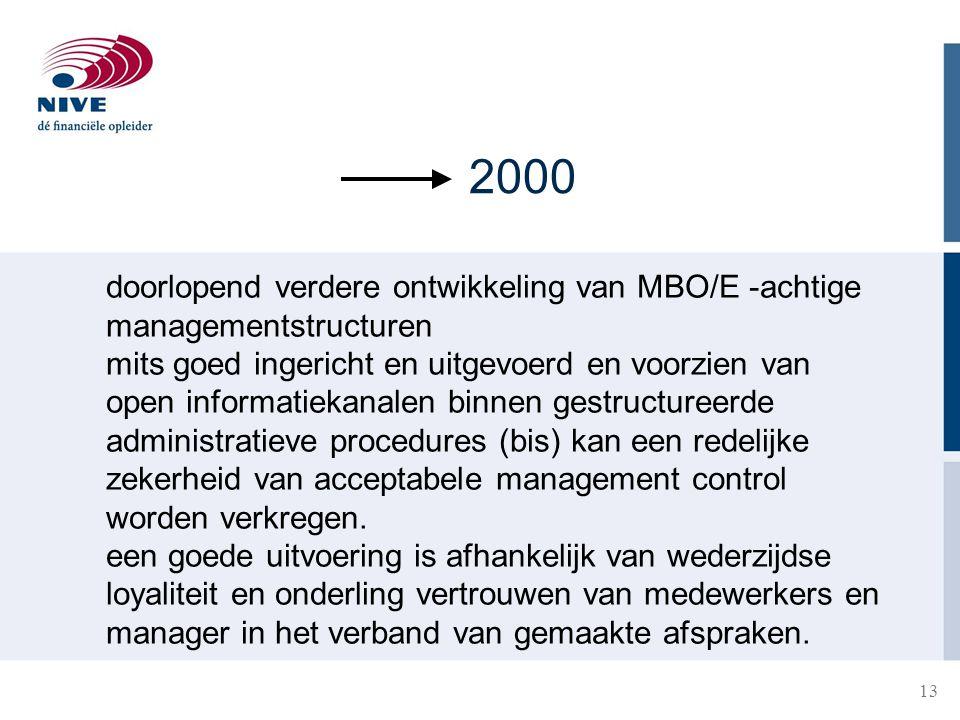 2000 doorlopend verdere ontwikkeling van MBO/E -achtige managementstructuren.