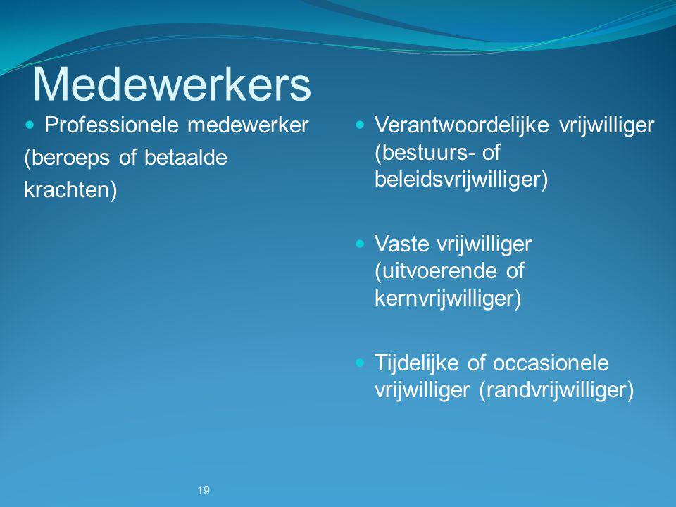 Medewerkers Professionele medewerker (beroeps of betaalde krachten)