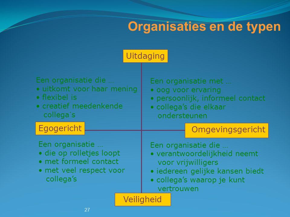 Organisaties en de typen