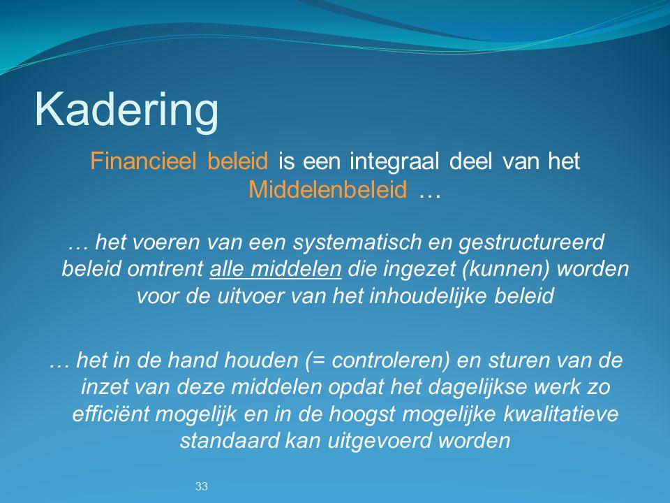 Financieel beleid is een integraal deel van het Middelenbeleid …