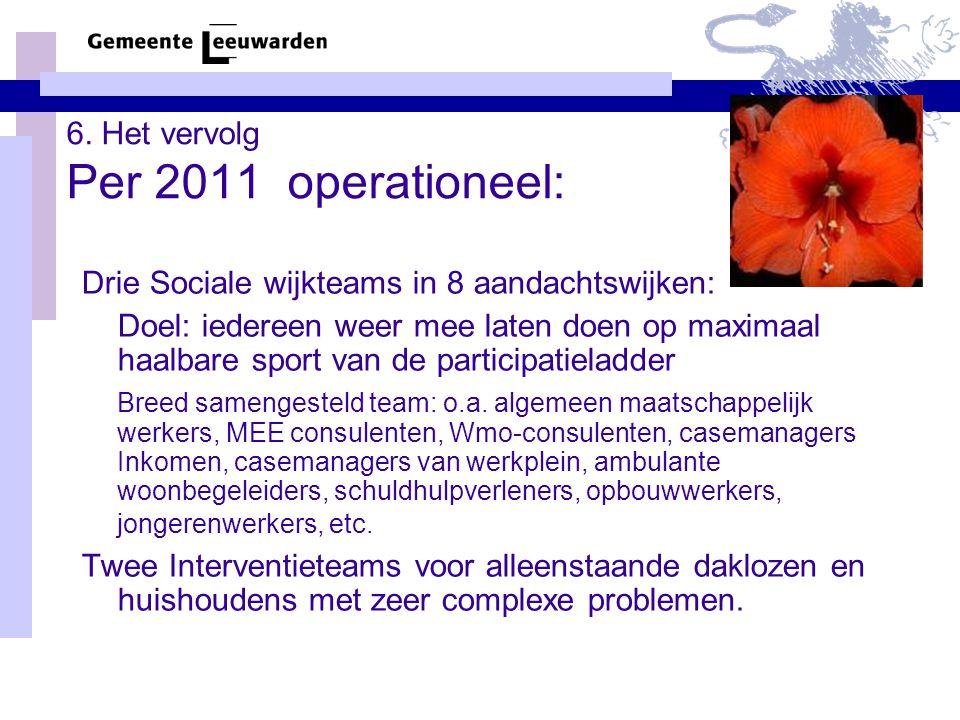 6. Het vervolg Per 2011 operationeel: