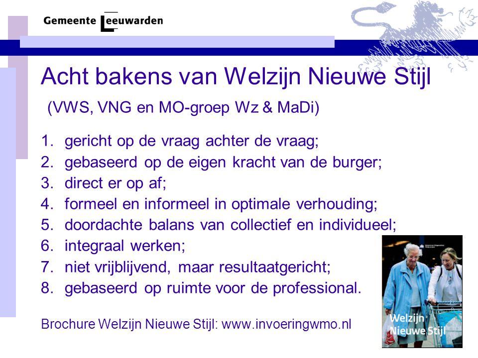 Acht bakens van Welzijn Nieuwe Stijl (VWS, VNG en MO-groep Wz & MaDi)