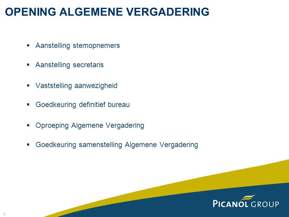 OPENING ALGEMENE VERGADERING