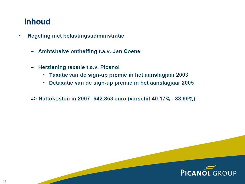 Inhoud Regeling met belastingsadministratie