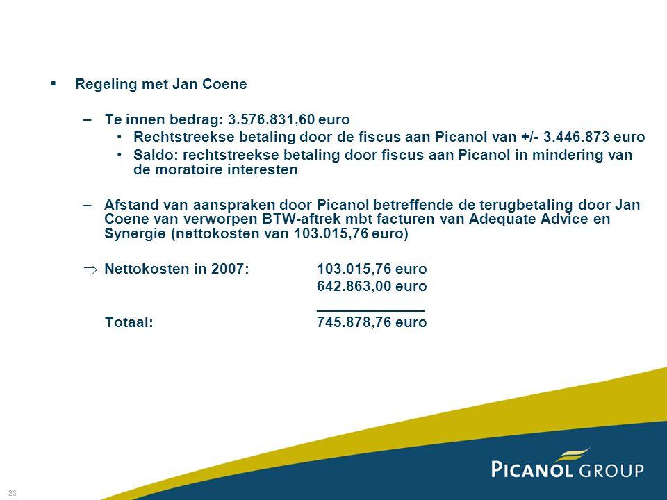 Regeling met Jan Coene Te innen bedrag: 3.576.831,60 euro. Rechtstreekse betaling door de fiscus aan Picanol van +/- 3.446.873 euro.