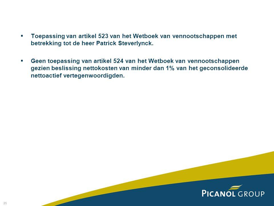 Toepassing van artikel 523 van het Wetboek van vennootschappen met betrekking tot de heer Patrick Steverlynck.