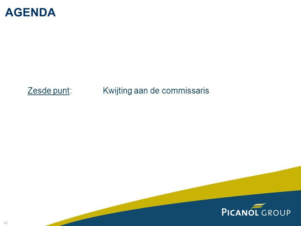 AGENDA Zesde punt: Kwijting aan de commissaris