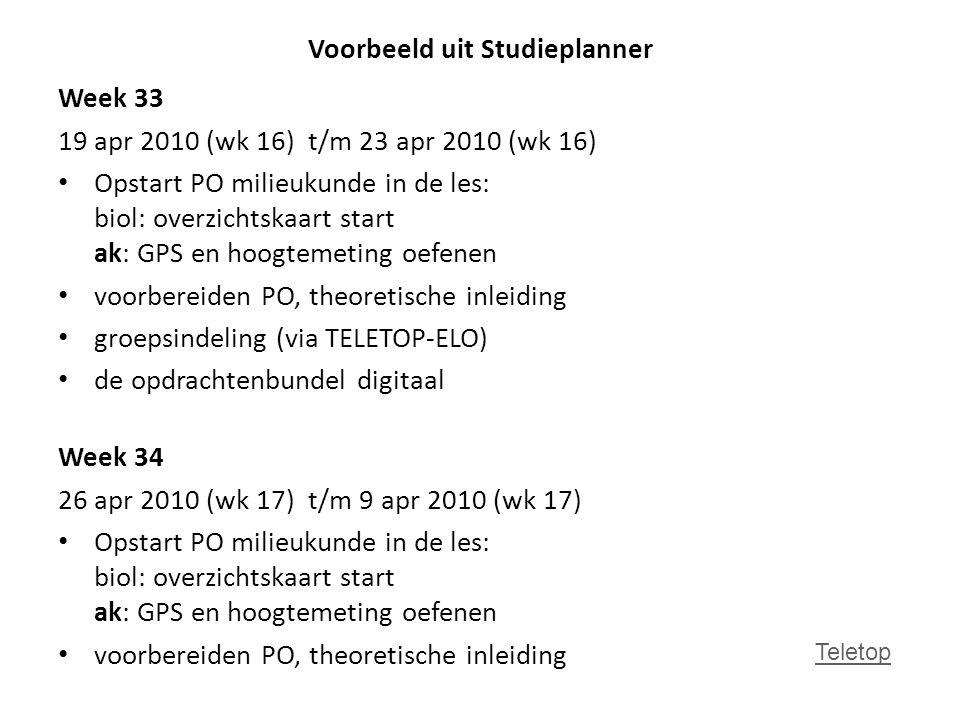 Voorbeeld uit Studieplanner