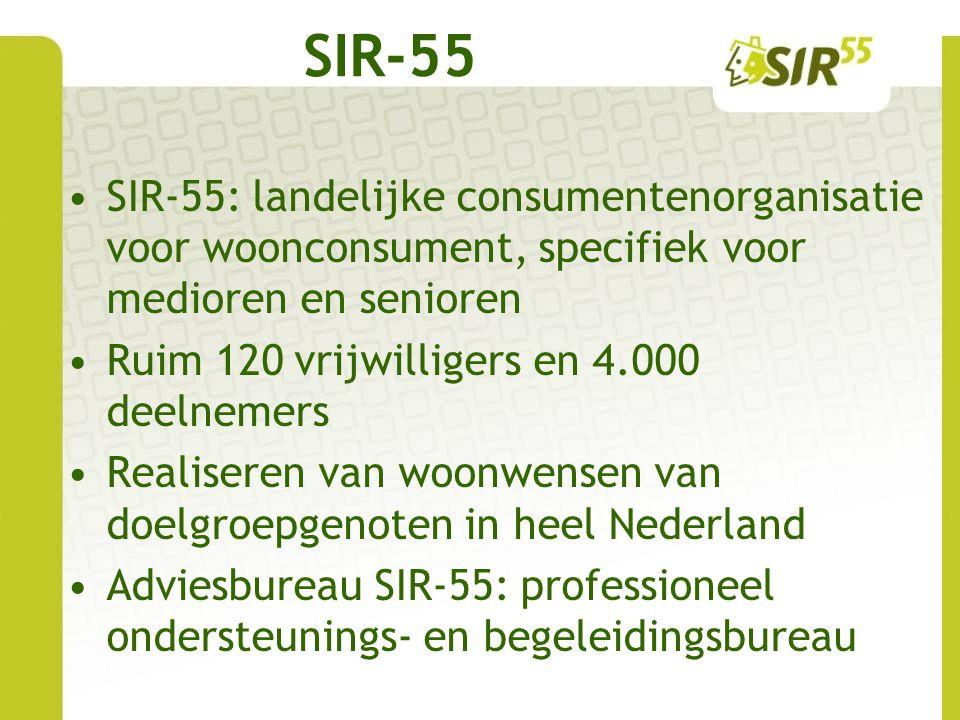 SIR-55 SIR-55: landelijke consumentenorganisatie voor woonconsument, specifiek voor medioren en senioren.