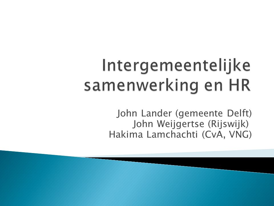 Intergemeentelijke samenwerking en HR