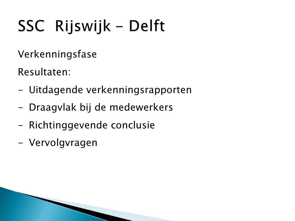 SSC Rijswijk - Delft Verkenningsfase Resultaten: