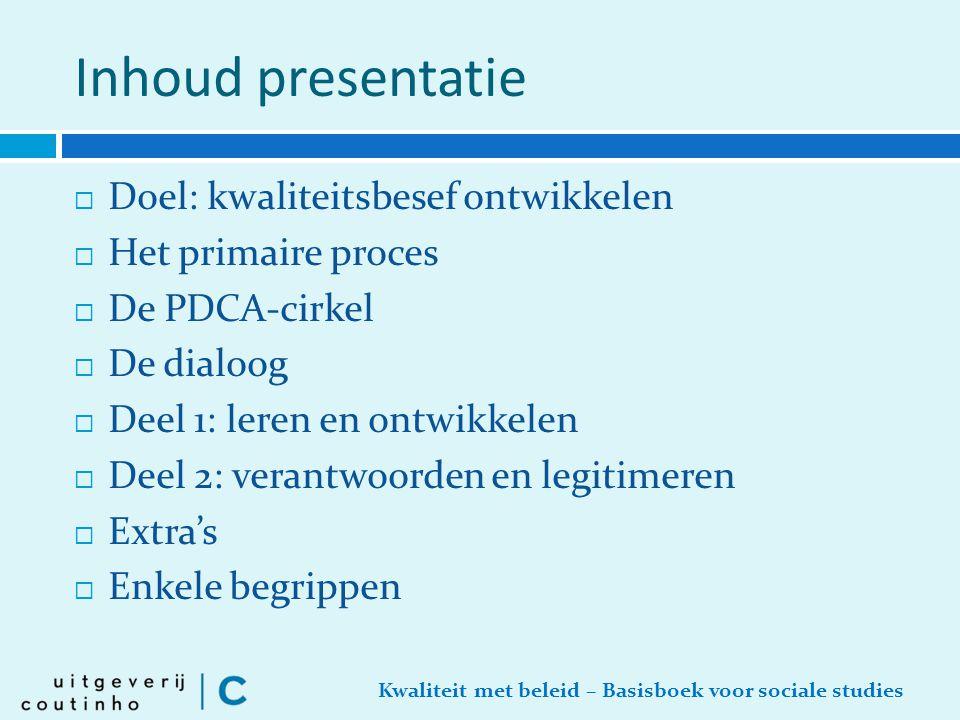 Inhoud presentatie Doel: kwaliteitsbesef ontwikkelen