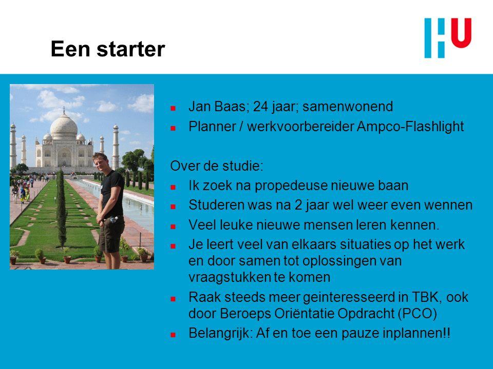 Een starter Jan Baas; 24 jaar; samenwonend