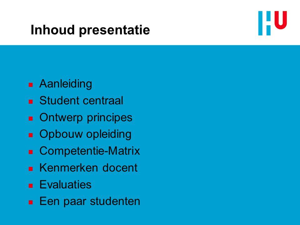 Inhoud presentatie Aanleiding Student centraal Ontwerp principes