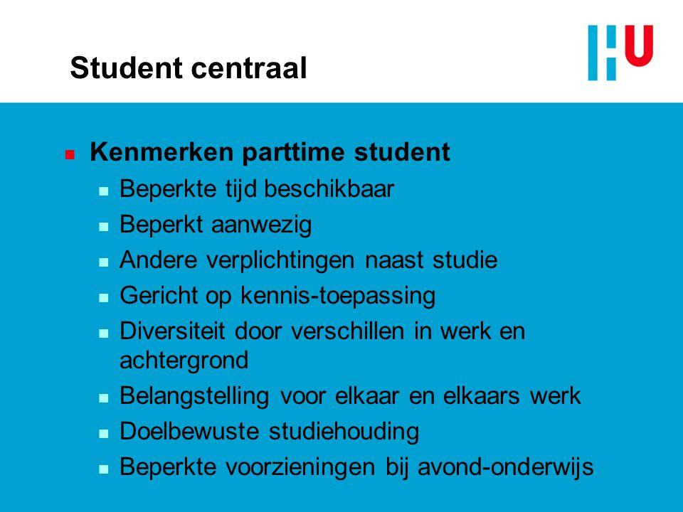 Student centraal Kenmerken parttime student Beperkte tijd beschikbaar