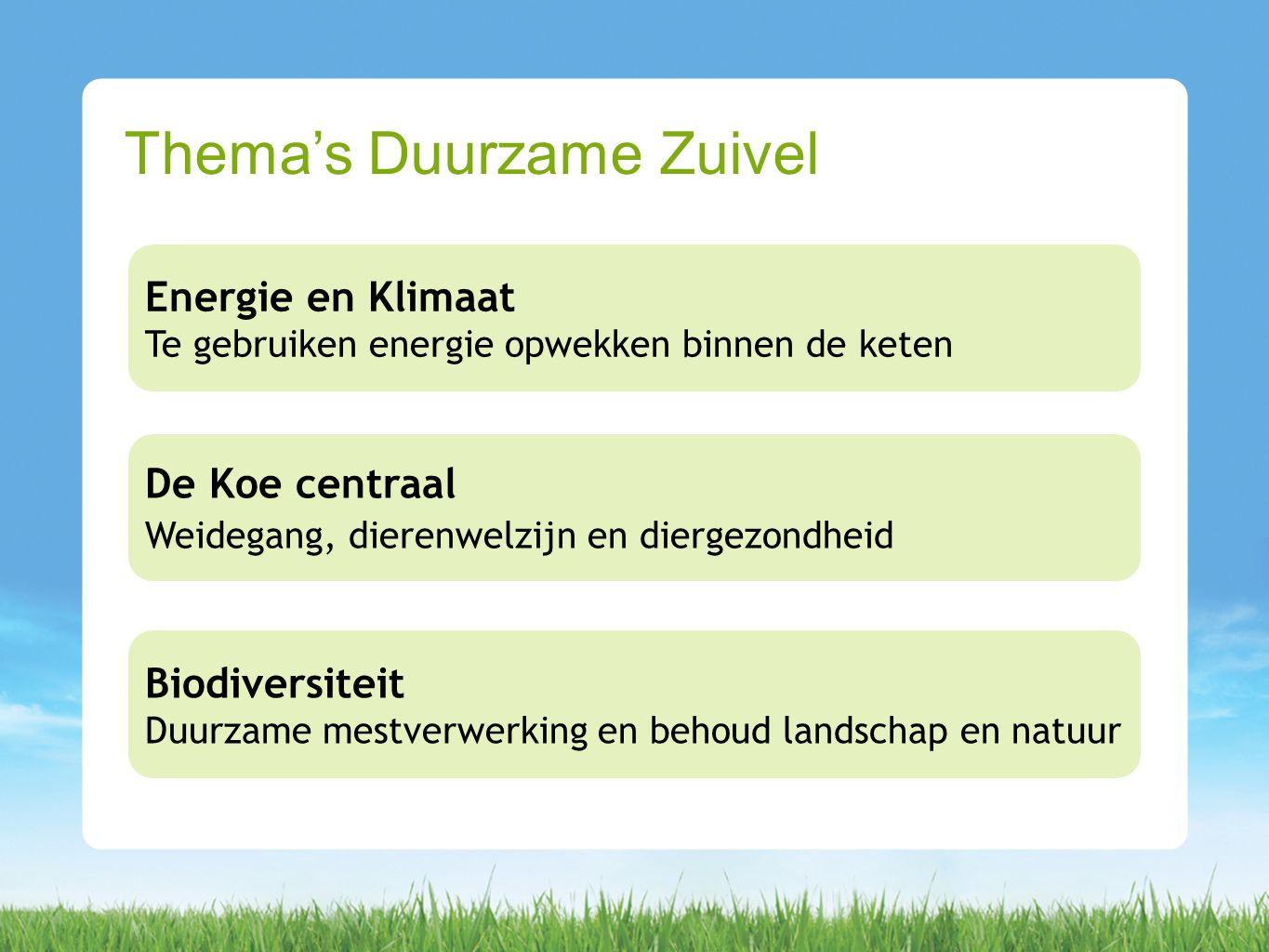 Thema's Duurzame Zuivel