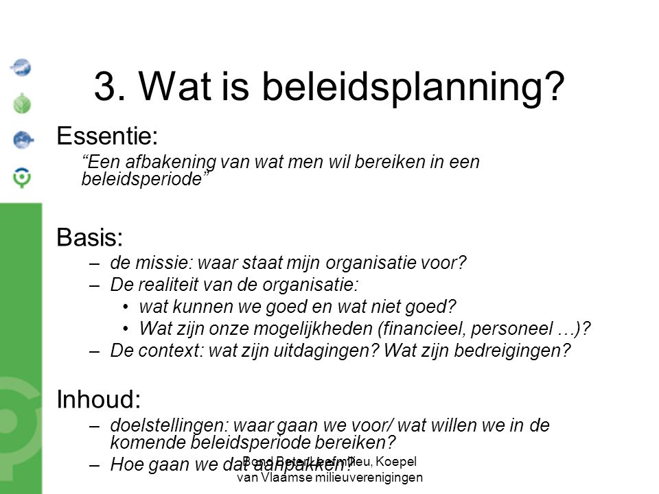 3. Wat is beleidsplanning