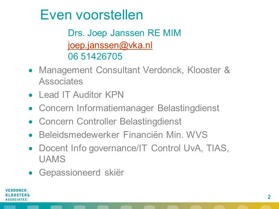 Even voorstellen. Drs. Joep Janssen RE MIM. joep. janssen@vka. nl