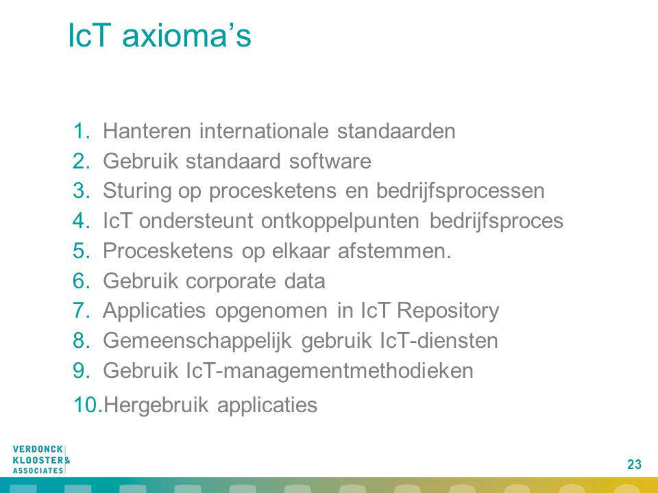 IcT axioma's Hanteren internationale standaarden