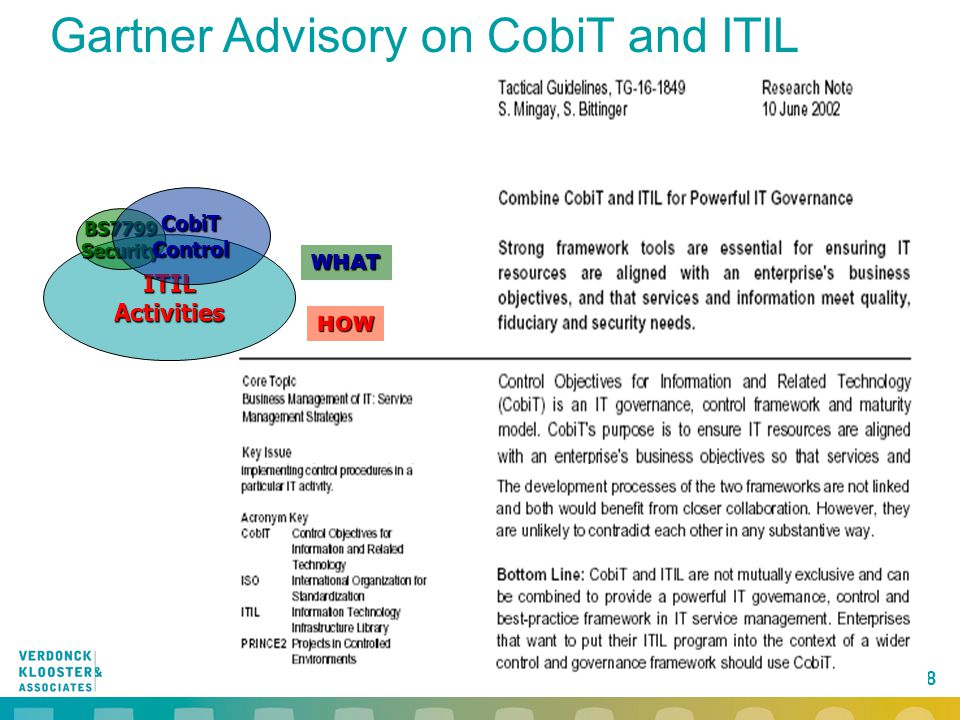 Gartner Advisory on CobiT and ITIL