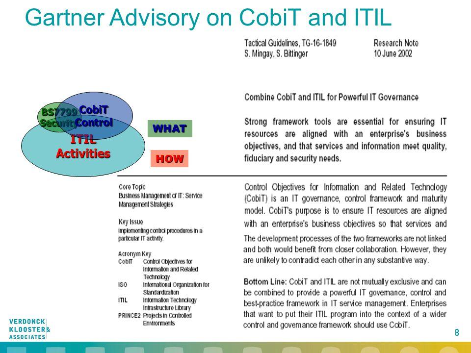 Gartner Advisory on CobiT and ITIL